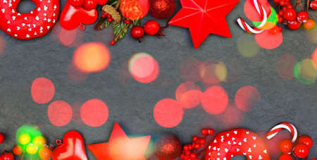 Christmas black and red card background Standard-Bild