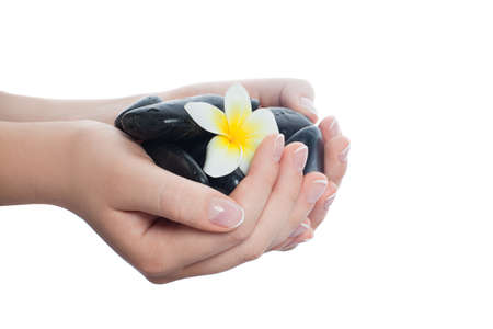 Black massage stones and tropical flower in beautiful woman hands with manicured nails 免版税图像