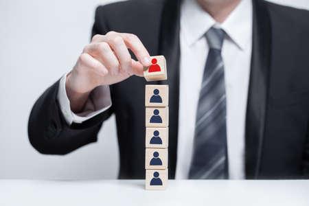 Building his super team. Business team success concept Stockfoto