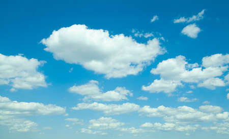 Perfect blue sky with white fluffy clouds. Beautiful sky clouds background Stockfoto