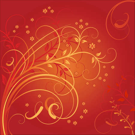Vector illustration from curls and white colours on the red background Vector