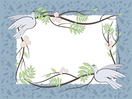 Vector  illustration with the place for text with birds and branches Vector