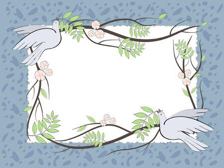 Ilustración vectorial con el lugar para el texto con las aves y ramas