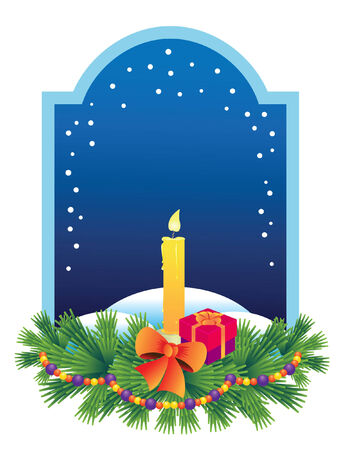 Vector  illustration with a Christmas candle and a present, a branch of spruce with a garland Vector