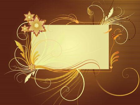 gamma: Ilustraci�n vectorial con el lugar para texto; composici�n de flores y plantas en oro marr�n gamma de colores