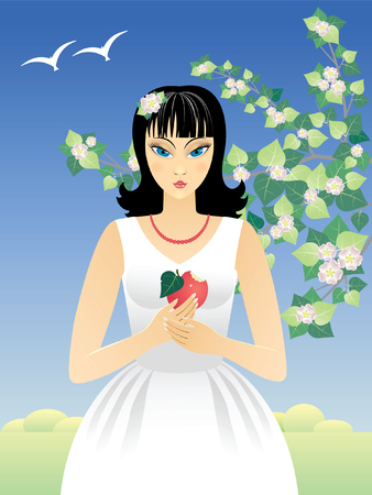 Vector  illustration with a girl, an apple, a flower of an apple-tree Vector