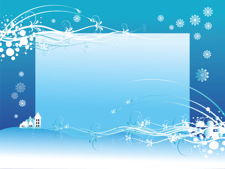Vector  illustration with Winter composition with the place for text.  Vector