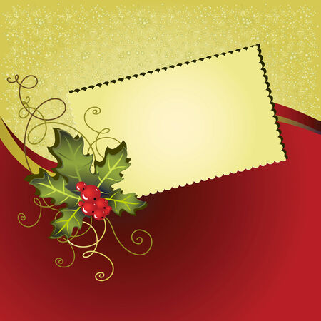 Christmas card with a red and gold background Vector