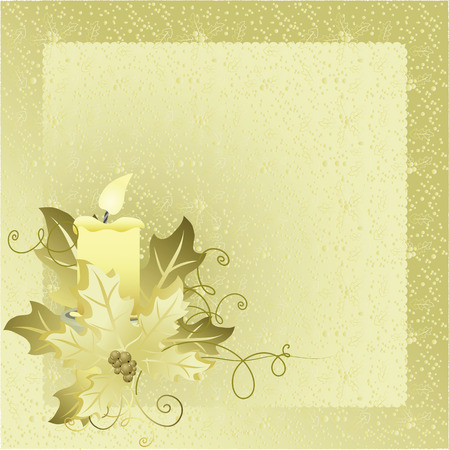 Christmas card with candle  Vector