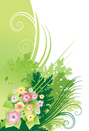 Postcard flowers Vector