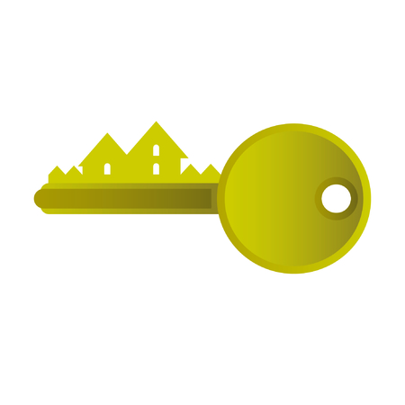 house exchange: Sign for real estate agencies. Golden Key. Vector. CMYK. Illustration