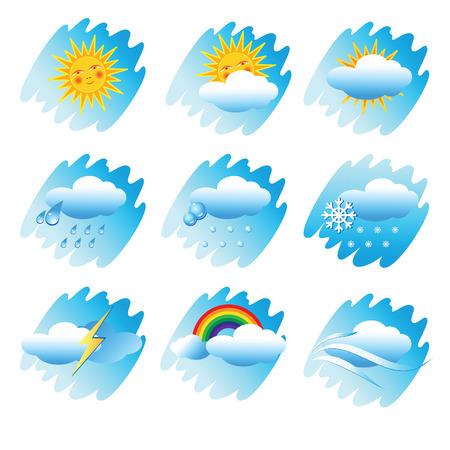 Pictogrammen instellen met de verschijnselen van het weer.  Vector Illustratie