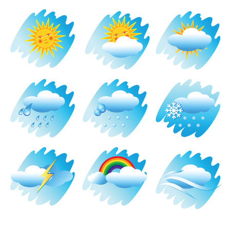 sunny cold days: Set Icons with the phenomena of weather.