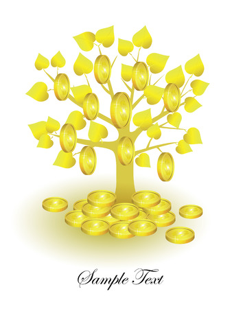 currency glitter:  concept. Money tree bearing fruit - the coin.