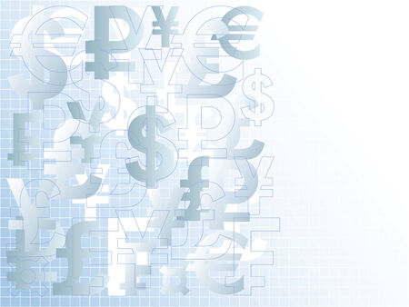 Abstract background with the symbols of popular currencies.