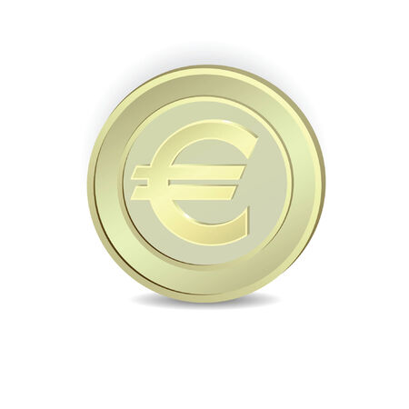 euro: Gold coin euro symbol. Illustration