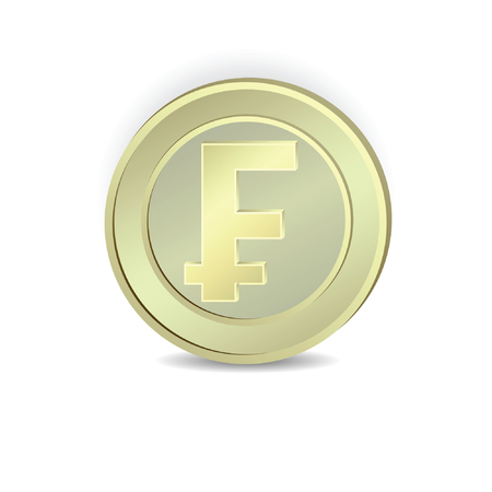 franc: The coin with the symbol of the French franc.