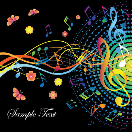Abstract background with notes and treble clef Vector