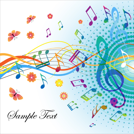 Abstract background with notes and treble clef, saved as eps10 Vector
