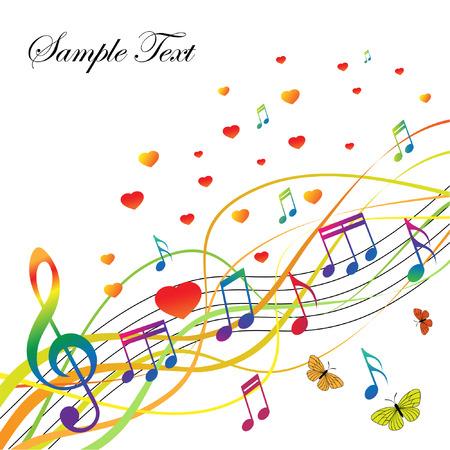 Fondo abstracto con música y corazones y mariposas. La cartera es similar a la imagen.