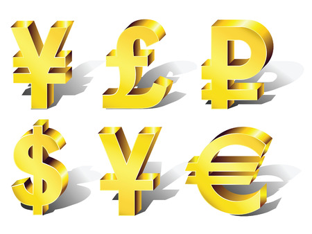 currency symbols: Currency Symbols: dollar, euro, pound, ruble, yuan, yen. Vector.