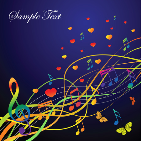 Abstract background with music and hearts and butterflies on a black background. The portfolio is similar to the picture. Vector
