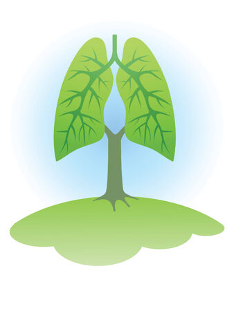 capillaries: Symbol: Trees - the lungs of the planet. Illustration