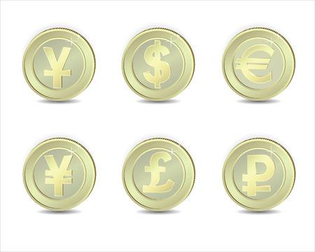 yuan: Coins with  symbols of exchange:  dollar, euro, pound, ruble, yuan, yen.