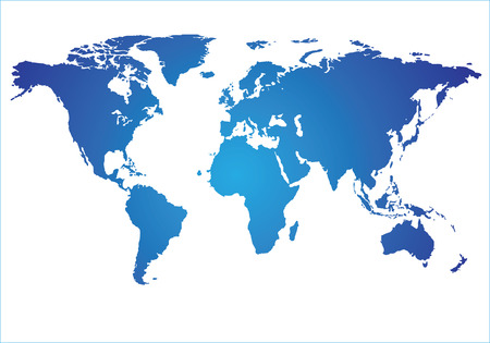 World Map of blue on a white background.