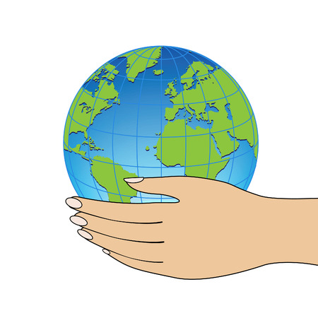 Globe in hand.  Stock Vector - 7844031