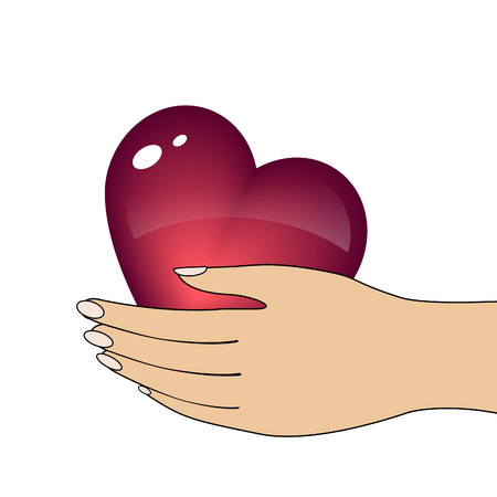 Heart in hand.  Vector