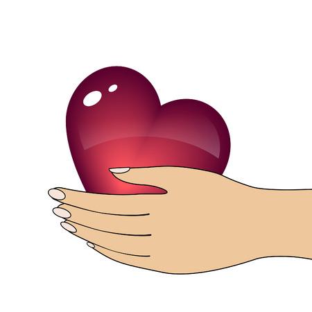 Heart in hand.  Vector