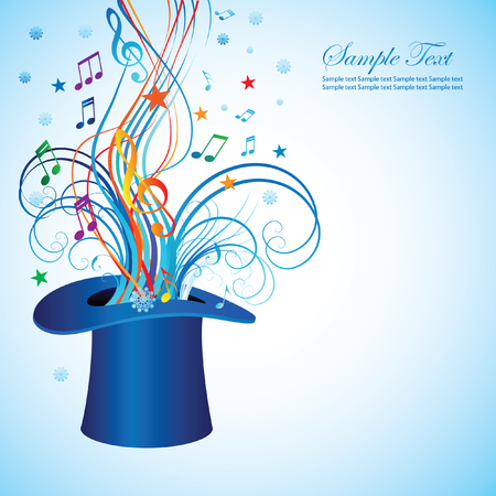 Abstract background for the holiday Christmas with music and the cylinder is a magician. Vector