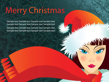Merry Christmas postcard with a girl in a red cap Vector