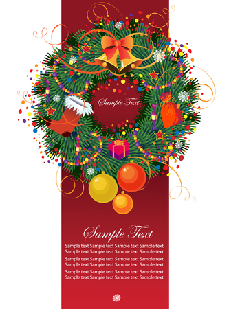 Christmas wreath with space for text  Vector