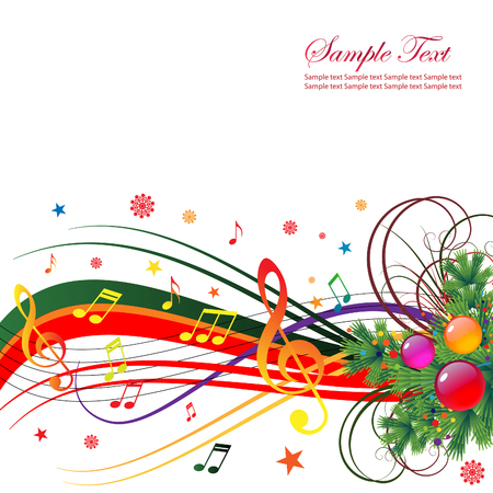 Abstract background for the holiday Christmas with music and Christmas tree branches. Vector