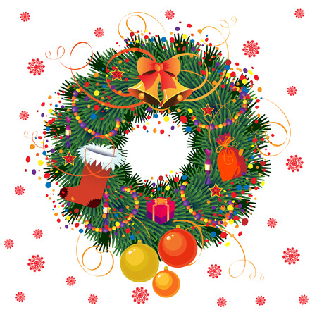 christmas wreaths: Christmas wreath with space for text