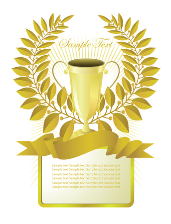 A poster with a laurel wreath and cup winner and a place for text. Vector. Vector