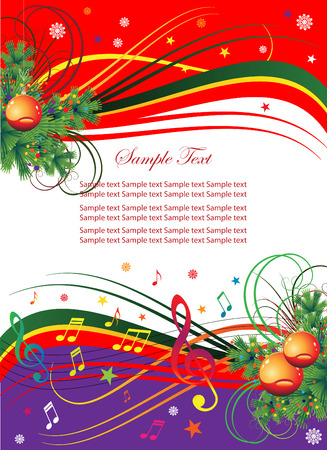 Abstract background for the holiday Christmas with music and Christmas tree branches.