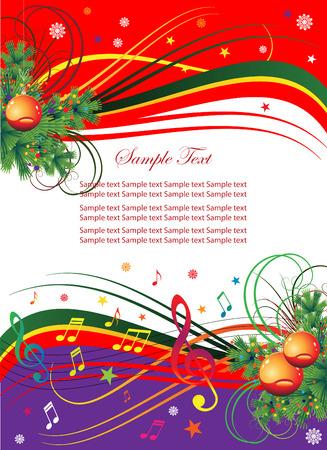 Résumé historique pour le vacances de Noël avec musique et des branches d'arbres de Noël.