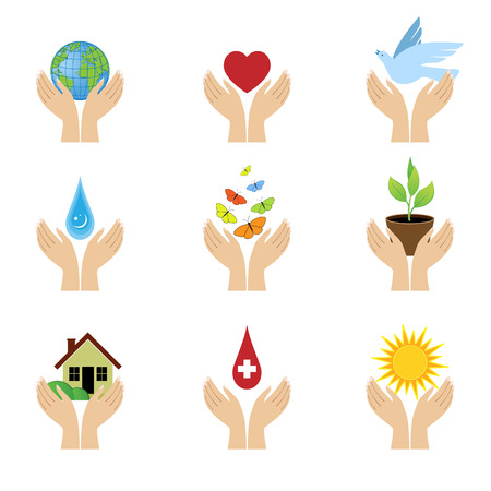 A set of signs with both hands.  Illustration