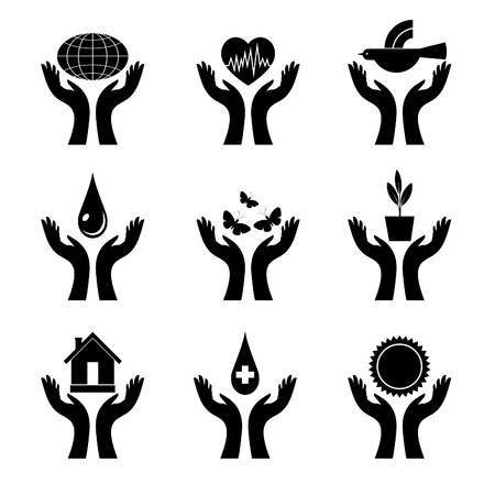 A set of signs with both hands.  Stock Vector - 8155261