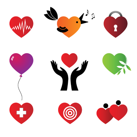 Set of hearts - characters.   Vector