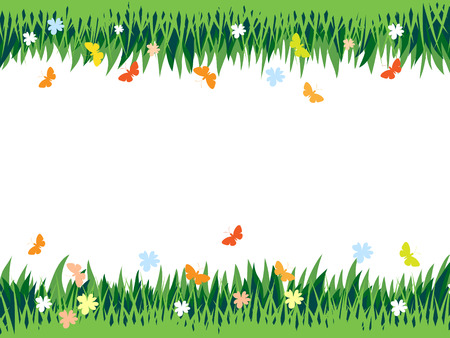 Abstract composition, with space for text, grass, flowers and butterflies.