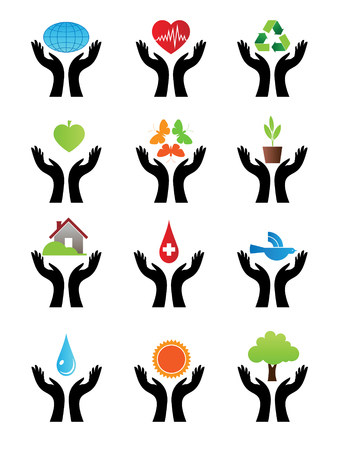 two hands: Character set of signs with both hands on the color.  Illustration
