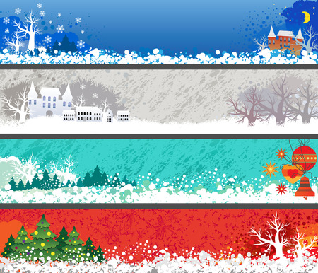 Set of banners for Christmas and New Year. Vector