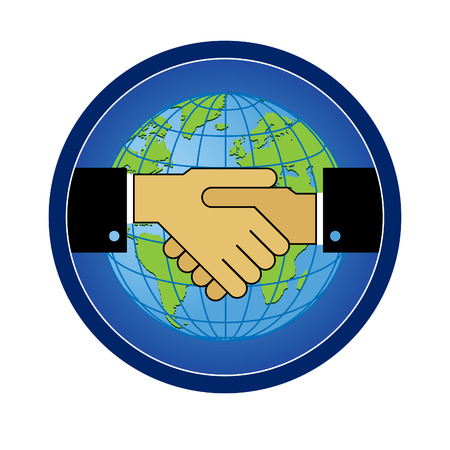 Symbol sign handshake of friendship, cooperation against the backdrop of the globe. Vector