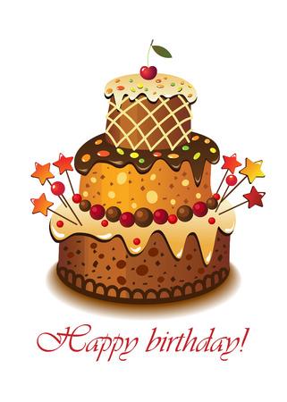Cake for a birthday. Illustration