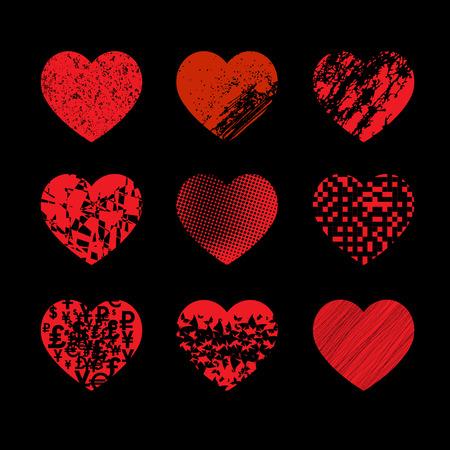 Conjunto de corazones de diferentes texturas sobre un fondo negro.