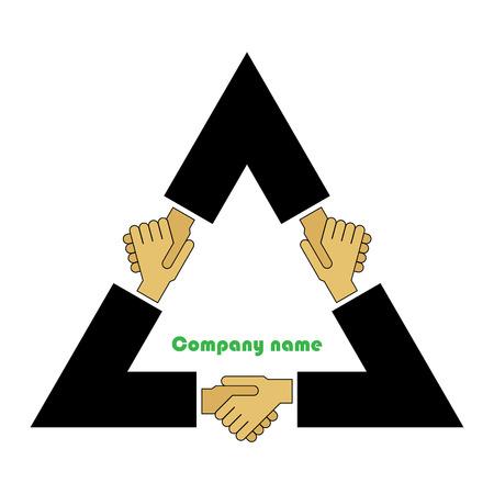 Illustratie, sumbol, concept. Tripartiete overeenkomst.